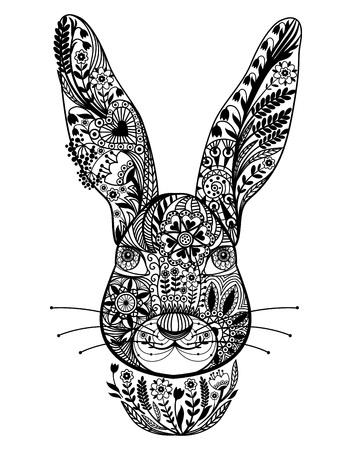 Résumé de lapin d'ornement. Vecteur noir et blanc.