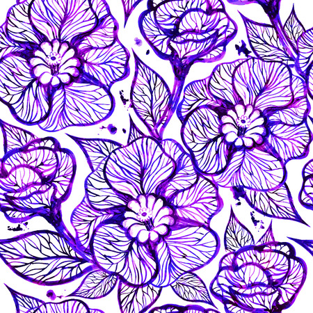 Vector floral ink background with flowers