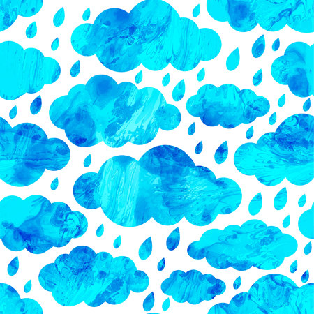 Seamless pattern with winter clouds and snowflakes. Vector,