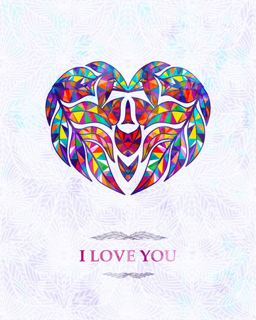Abstract card with heart. I love you. Vector background, Stock Illustratie