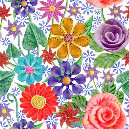 Seamless pattern with abstract bright flowers. Vector, Stock Illustratie