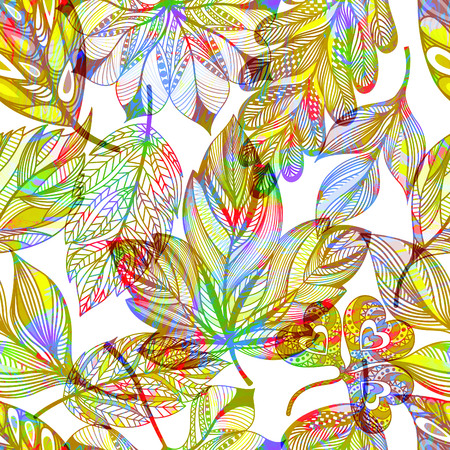 Seamless pattern with colored autumn leaves. Vector,