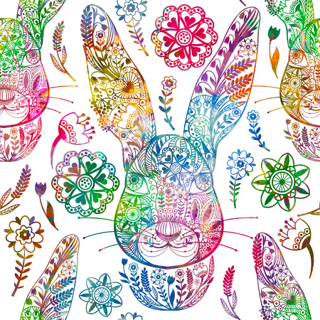 Floral seamless pattern with ornamental rabbit. Vector illustration,
