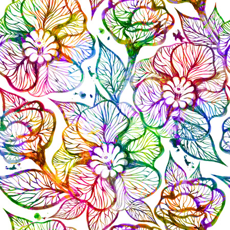 Abstract bright floral seamless pattern. Vector illustration,