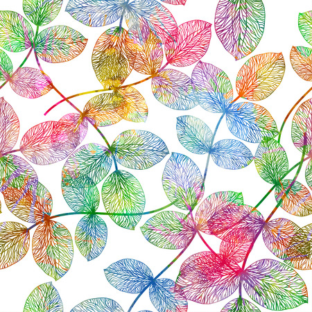 sceleton: Seamless pattern with colored autumn leaves. Vector,