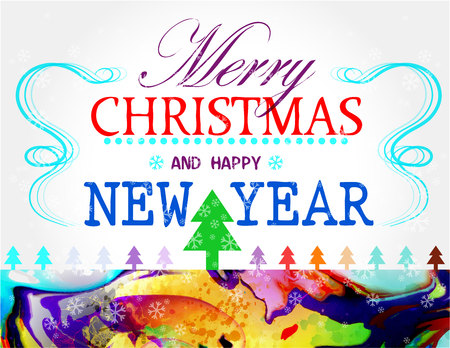 Merry Christmas holidays wish colorful card design. Happy new year.