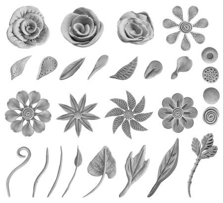 Set of floral graphic design elements. Stock Illustratie