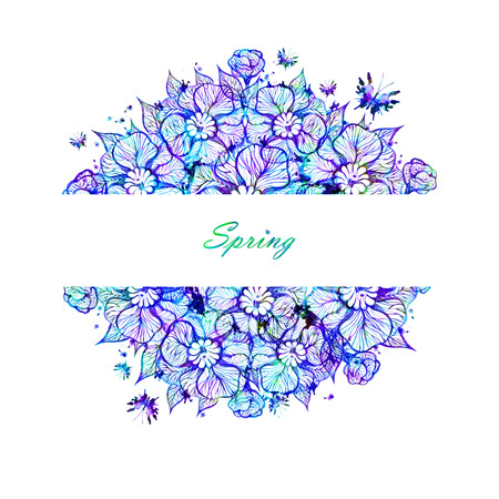 Vector floral background with flowers. Stock Illustratie