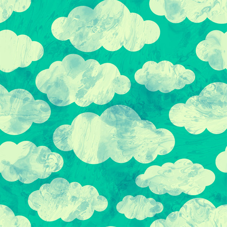 Cloud seamless pattern on blue background. Vector illustration.