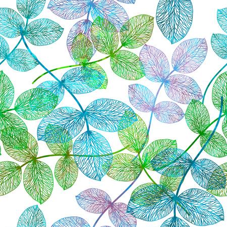 抽象的なリーフのシームレス パターン。  イラスト・ベクター素材