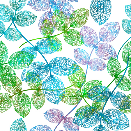 sceleton: Seamless pattern with abstract leaf.