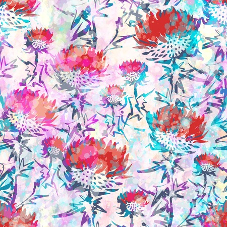 Abstract seamless pattern with flowers. Stock Illustratie