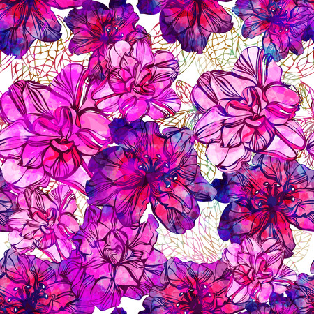 Seamless pattern with abstract bright flowers.