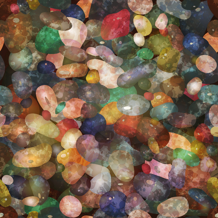 Seamless pattern with  colorful pebbly stones. 向量圖像