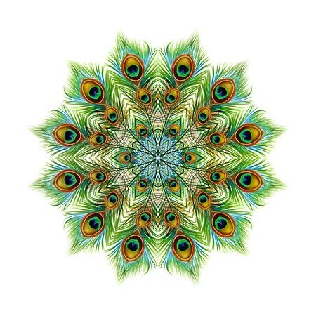 Peacock feathers background, mandala. Ornament beautiful card, bright illustration. Pattern kaleidoscope design, India.  design