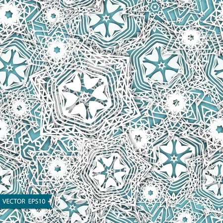 Snowflakes blue background pattern. Christmas seamless design for backdrop. Abstract snowflakes with 3D effect, trendy winter design concept. 向量圖像
