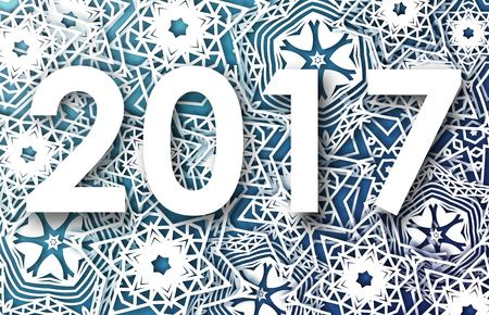 Happy New Year 2017 greeting card with snowflakes background.  illustration design. Stock Illustratie