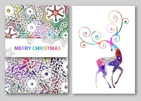 Christmas deer greeting cards or backgrounds. illustration with snowflakes design and watercolor effect.