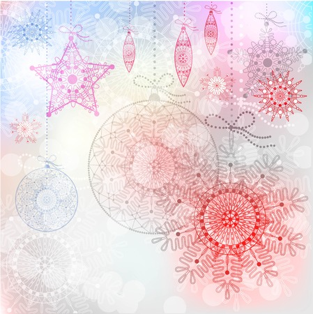 Christmas background with red snowflakes design. greeting card with space for text.