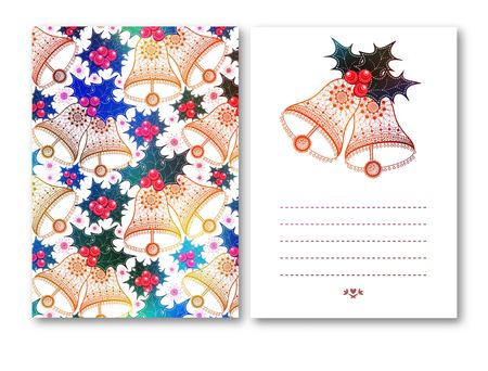 Cards with Christmas bells, red bow and Holly berries on white background. design illustration.