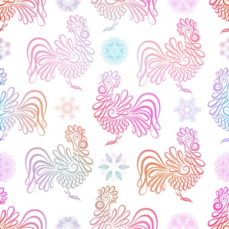 Roosters seamless pattern background. Symbol of 2017 year. Colorful rooster texture. design.