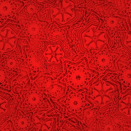Snowflakes background pattern. Christmas seamless design for backdrop. Abstract snowflakes with 3D effect, winter concept in red.