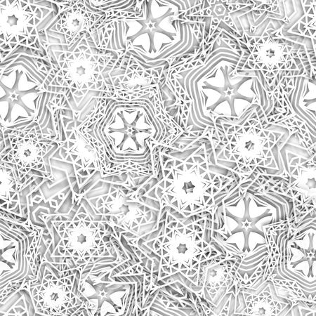 Snowflakes background pattern. Christmas seamless design for backdrop. Abstract snowflakes with 3D effect, winter concept.