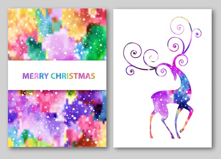 deer silhouette with stars. Abstract winter design.