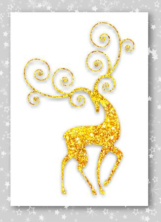 Merry Christmas gold deer silhouette. Ideal for Merry Christmas, happy new year, Xmas greeting card or holiday party invitation Stock Illustratie