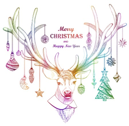 Christmas deer greeting card or background. Holiday decorations, Merry Christmas and Happy New Year. illustration for card design. Stock Illustratie