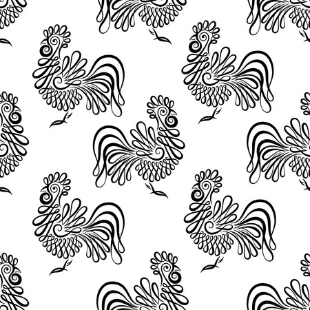Seamless pattern background with roosters. Black and white cock texture. background with symbol 2017. Stock Illustratie
