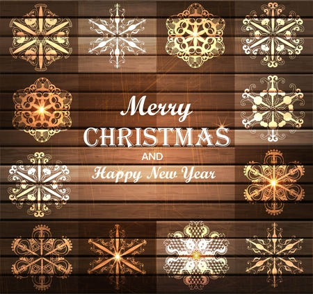 Merry Christmas and Happy New Year background with snowflakes and wood texture. illustration