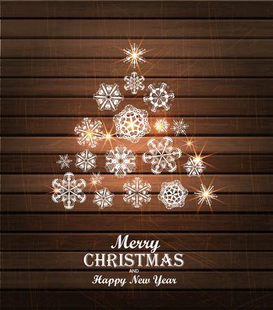 Christmas tree card. Winter Snowflake background. illustration