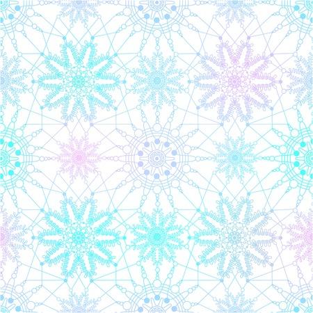 Seamless pattern with blue snowflakes on white background. Christmas vintage design. Stock Illustratie