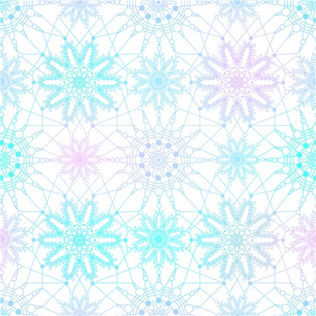 Seamless pattern with blue snowflakes on white background. Christmas vintage design. Illustration