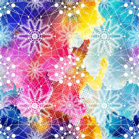 Seamless pattern with blue snowflakes on white background. Abstract pattern seamless on bright vintage background. illustration. Stock Illustratie