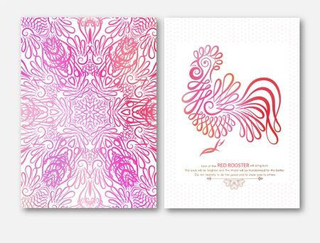 Happy New Year design with wishes. Rooster, symbol 2017 in Chinese calendar. Mandala with red cock. illustration 2017 year, Red Rooster.