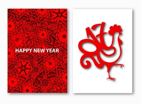 メリー クリスマスと幸せな新年の休日背景赤いオンドリ。カードは、印刷とは異なるイラスト デザイン。シンボル 2017年中国のカレンダー。  イラスト・ベクター素材