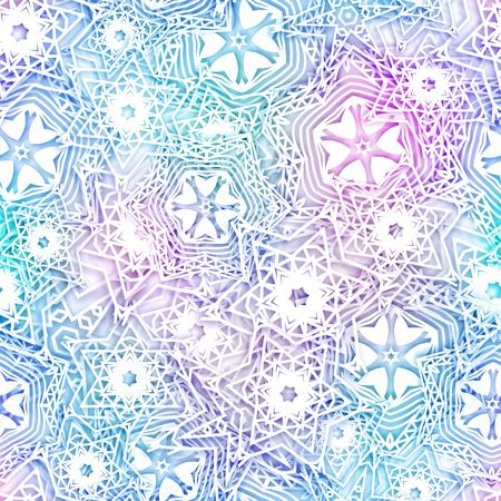 Snowflakes blue background pattern. Christmas seamless design for backdrop. Abstract snowflakes with 3D effect, trendy winter concept