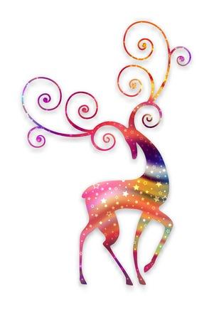星とカラフルな鹿のシルエット。抽象的なデザイン。