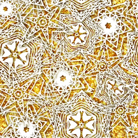 Gold snowflakes  background pattern. Christmas seamless design for backdrop. Abstract snowflakes, trendy winter concept. Christmas, happy new year, Xmas greeting card Stock Illustratie