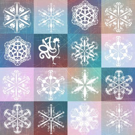酉 2017 と雪片のパターン。クリスマス背景シームレスなデザイン。トレンディなクリスマスと幸せな新年のコンセプト  イラスト・ベクター素材