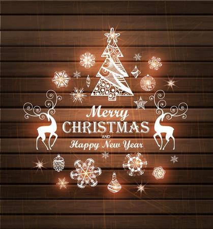 メリー クリスマスと新年あけましておめでとうございます木のクリスマス ツリー、鹿、雪の結晶の背景。図