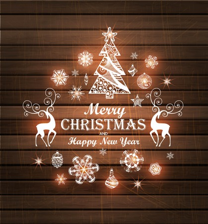 Merry Christmas and Happy New Year wood background with Christmas tree, deer, snowflakes. illustration