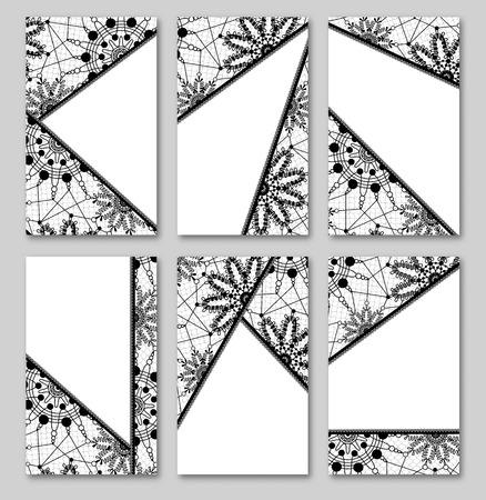 Abstract lace vintage cards. set of backgrounds. Black vintage design