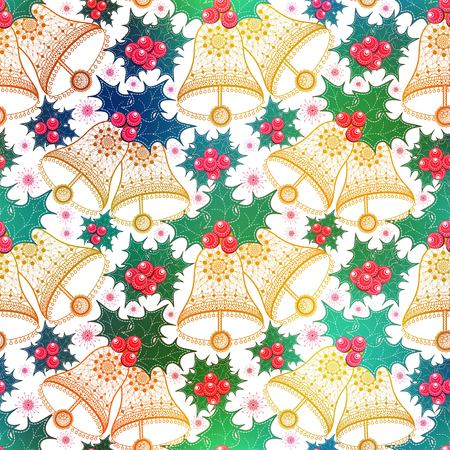 Christmas pattern seamless with poinsettia and balls. background design. Stock Illustratie