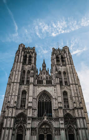 Brussels / Belgium - October 2019: Cathedral of St. Michael and St. Gudula - iconic religious landmark. Close up view. Medieval Roman Catholic church with gothic architecture for christian tourism. 報道画像