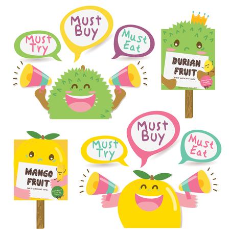 Cute Durian and Mango Dialog box / Signboard Stock Illustratie