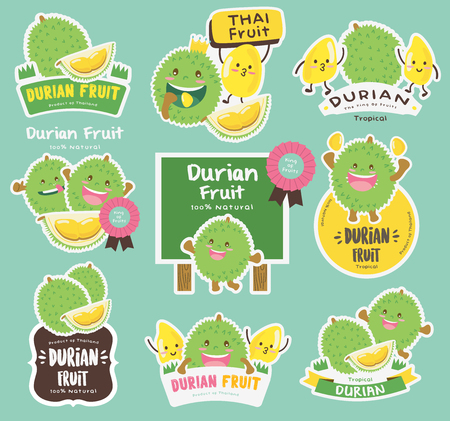 Cute Durian Vector  Durian Vector Packaging Design labels  Mascot Vector Design