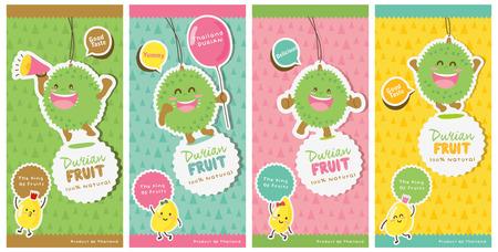 Etichette carino Durian Vector / Durian Tag Vettoriali